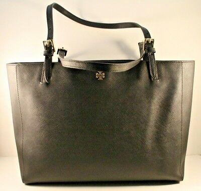 bc231820c48f TORY BURCH BLACK Saffiano Leather Large York Buckle Tote MSRP  295 ...