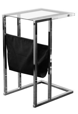 Sheldon Laptop Stand With Magazine Rack Glass Black Chrome Effect Table
