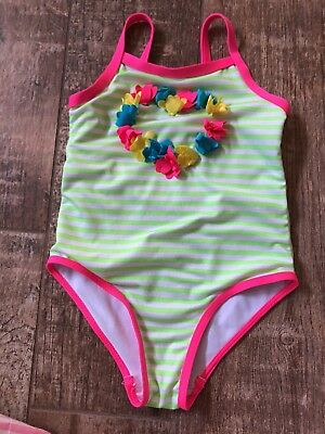 Penelope Mack Girls Green White Stripe One Piece Swimsuit Bathing 3T EUC
