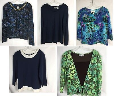 Lot 4 Women S Blouses Tops Large L Includes Chicos Size 2 Andria