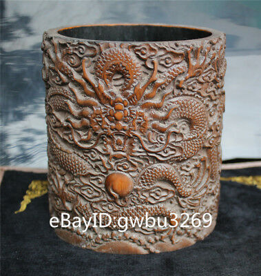 Exquisite Asian Old Chinese Bamboo Pen holder  Hand Carved Dragon Brush Pot