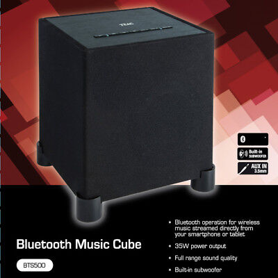 TEAC Bluetooth Speaker Portable Wireless Wood Cabinet Subwoofer Bass Music Cube