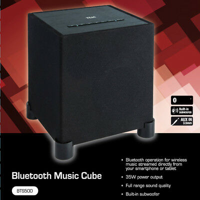 TEAC Portable Bluetooth Speaker Wireless Wood Cabinet Subwoofer Bass Music Cube