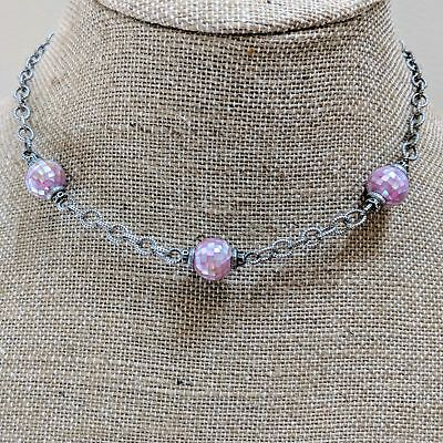 """Artisan Designer 16"""" Pink Mother of Pearl Inlay Sterling Silver Necklace RE 925"""