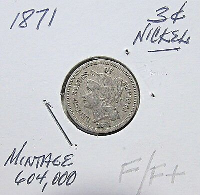 Scarce...1871  3 Cent Nickel***Nicer F/F+  Or Better Details***
