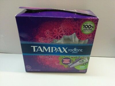 Tampax Radiant Super Absorbency Tampons, Unscented, 32 Tampons - Torn Packaging