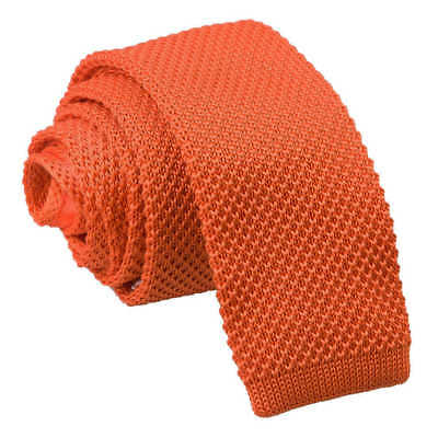 DQT Knit Knitted Plain Solid Burnt Orange Casual Mens Skinny Tie