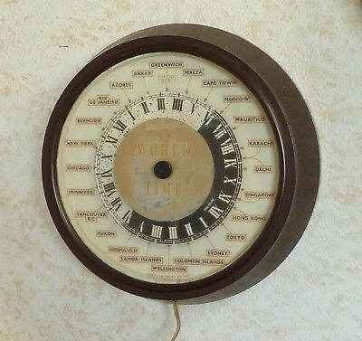 Rare Smiths Vintage Sectric World Time Wall Clock