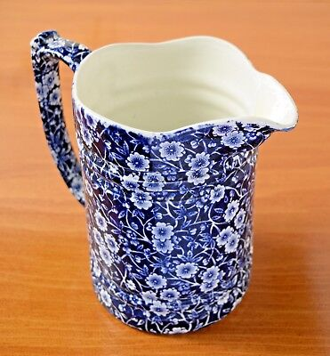 """Vintage ROYAL CROWNFORD STAFFORDSHIRE Blue Calico 7"""" tall Pitcher!!"""