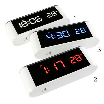 LED Digital Alarm Clock Night Light Thermometer Mirror Surface Touch Button