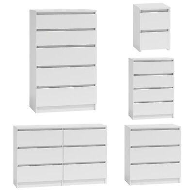 Chest of Drawers White Bedroom Furniture Hallway Tall Wide Storage 3|4|5|6 Draws