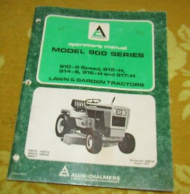 Allis Chalmers Model 900 Series Lawn and Garden Tractors Operators Manual