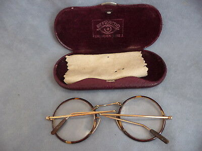 Antique gold plated folding brille eye glasses spectacles lunettes in case 1900s