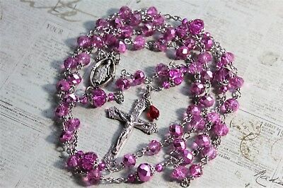 Silver, Light Pink Rose New Crystals Miraculous Rosary, Rosario  Handmade