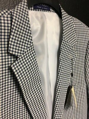Alan Flusser MENS Jacket Blazer Sport Coat White Gingham Blue Check Plaid 40L 40