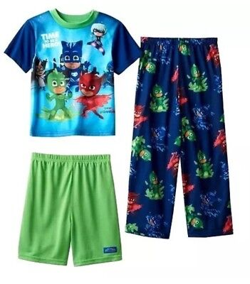 Superior PJ Masks Pajamas 3 Piece Set Shirt Shorts Pants Boys Size 6 Catboy, Gekko  NWT