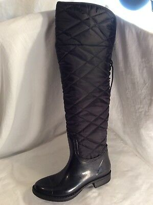 Next Ladies Quilted Over Knee Black Boots Size 5