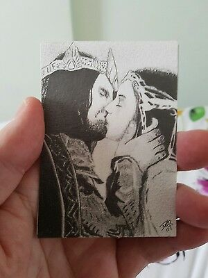 """Lord Of The Rings """"the Kiss"""" Pencil Aceo Sketch Card Psc"""