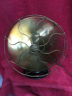 "Old Rare Antique 1914 Emerson Model 19666 Brass 12"" 6 Blade Fan Pancake? Works!"