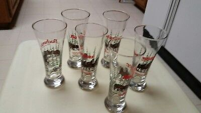1989 10 oz Budweiser Clydesdale Christmas Holiday Beer Drinking Glasses