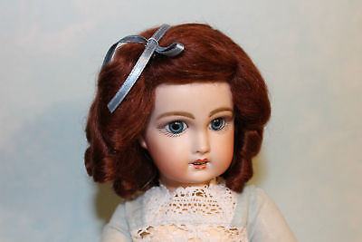 Daisy auburn mohair wig for antique French/ German bisque doll size 10