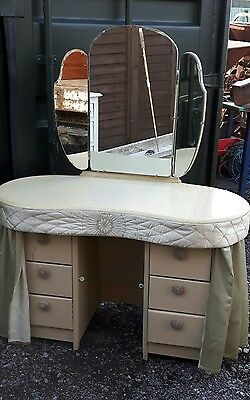 kidney shaped dressing table with Original curtains etc Beautiful