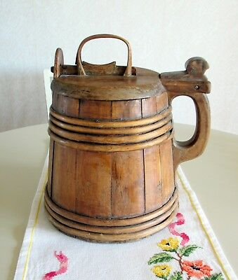 "RARE Swedish Antique 1800s Wooden Tankard ""Trästånka"" from Halsingland Sweden"