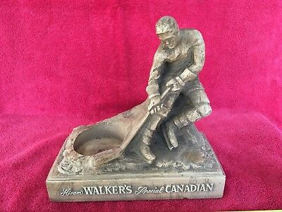 Vintage Hiram Walker's Special Canadian Whiskey Hockey Player Bar Bottle Display