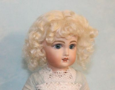 Dee Light Blonde mohair wig  for antique French or German doll size 6