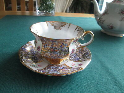 Vintage English Collingswood Countess Floral & Gilt Footed Cabinet  Cup & Saucer