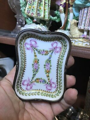 Antique French Solid Silver Enamel Side Dish Or Pin Tray Decoreted With Flowers