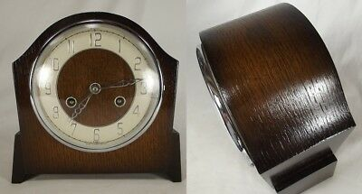 ANTIQUE MANTEL CLOCK England Art Deco BENTIMA PERIVALE Oak rare wood FANTASTIC!