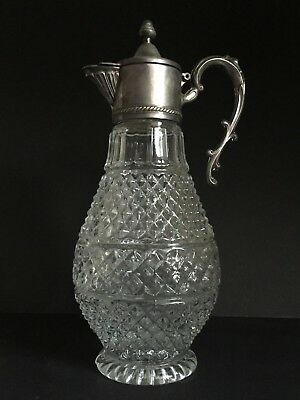Vintage Glass Hobnail Cut Bowl-Body Footed Claret Jug With Silver Plated Collar