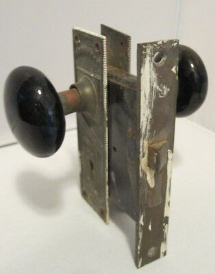 Antique Black Porcelain ? Onyx Brass Iron Door Knob Set *No Key/Strike Plate*TLC