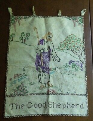 Lovely Vintage Hand Embroidered Tapestry The Good Shepherd