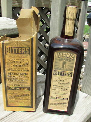 Early 1906 ELECTRIC BITTERS w/both LABELS, Box & NECK Seal - UNOPENED EXAMPLE !!