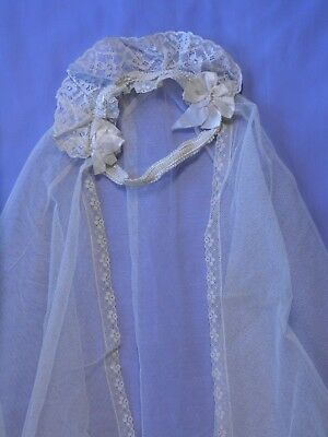Antique Wedding Veil Ivory Lace and Satin