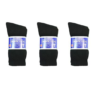 New Diabetic Crew Socks Circulatory Health Cotton Loose Fit Top 3 Pairs