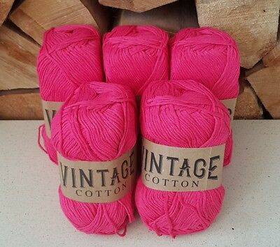 Coral 5 x 100g Vintage Cotton Knitting Yarn