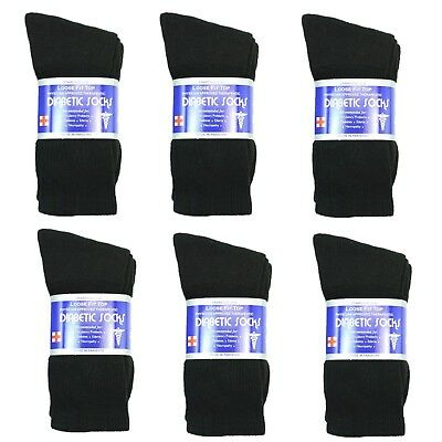 New Diabetic Crew Socks Circulatory Health Cotton Loose Fit Top 6 Pairs
