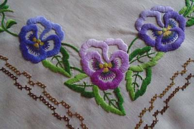 Gorgeous Vintage Hand Embroidered Tablecloth~Perfect Pretty Plump Pansies & Lace