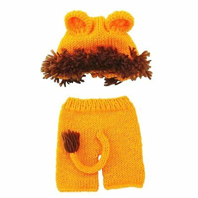Baby Baby Crochet Knitted Photo Photography Baby Hat Diaper Outfit Lion O6E3