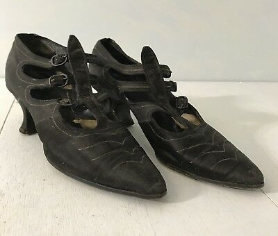 Antique Edwardian Shoes Titanic Flapper Black Silk Buckle Dress Shoes
