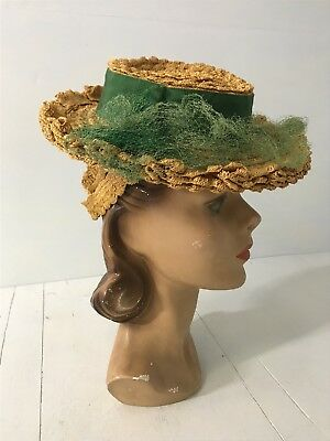 Antique Ruffled Straw Hat Edwardian Topper with Green Ribbon