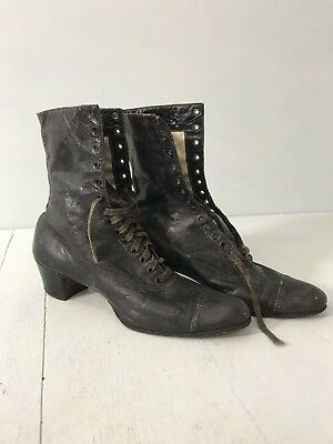Antique Victorian Boots Black Leather Lace Up Shoes