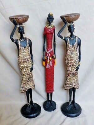 "Lot of 3 16"" Tall African Woman Ethnic Tribal Resin Skinny Figurines / Statues"