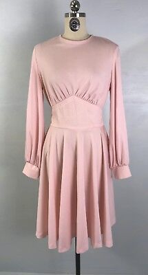 Vintage 70s Pink Dress Long Sleeve Jersey Knit with Full Skirt sz M L