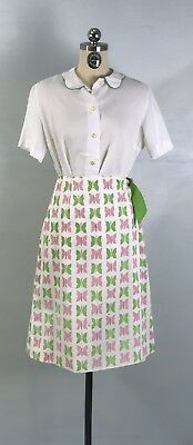 Vintage Vested Gentress Butterfly Wrap Skirt and Short Sleeve Blouse sz M