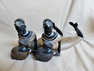 "Lot of 2 16"" African Woman Ethnic Tribal Resin Laying Figurines / Statues"