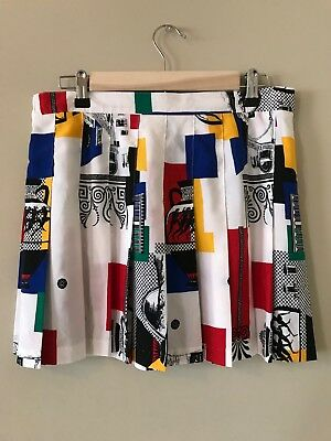 Vintage 80s/90s Pleated Mini Skirt in White w Primary Color Abstract Print M L